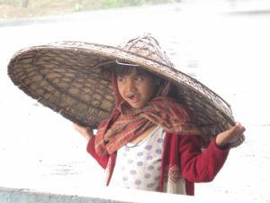 my friend in the Japi (rain hat)